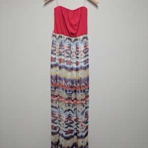 Lily Rose Red/Multi Colored Strapless Maxi Dress S